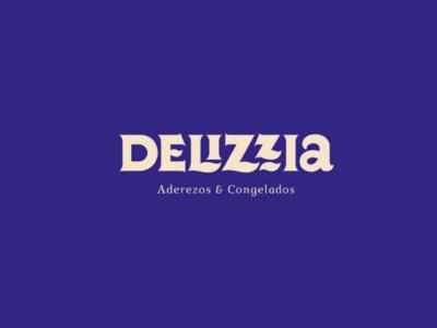 Delizzia logotype lettering wordmark deliciois garlic food blue branding