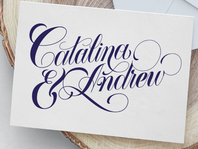 Catalina & Andrew delicate beauty ornaments swash copperplate calligraphy wedding lettering