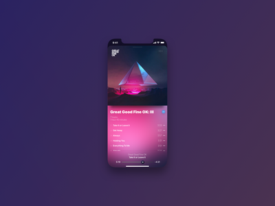 Album view audio player music app ios12 purple
