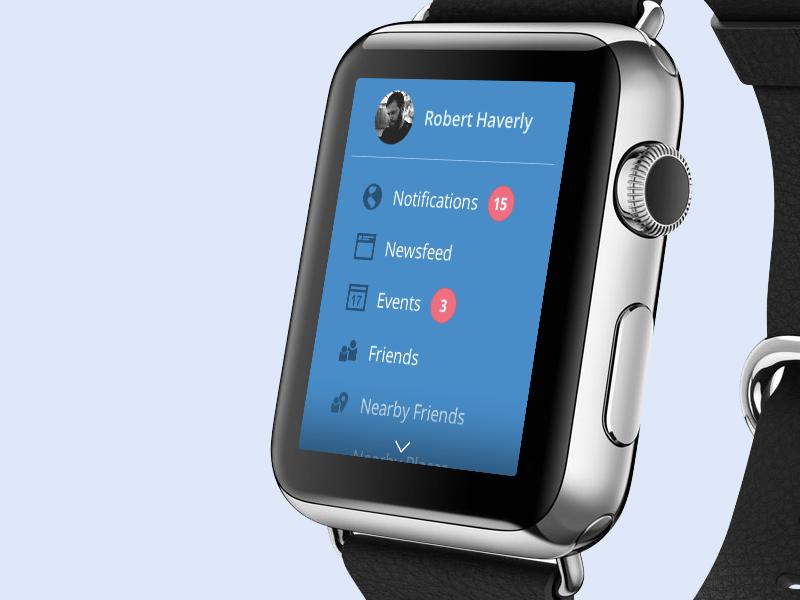 Facebook Apple Watch UX exploration apple watch apple watch wearable ui mobile facebook social