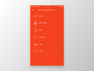 Document types orange types document modal ui mobile upload