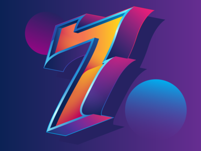 SEVEN vector typography design illustration