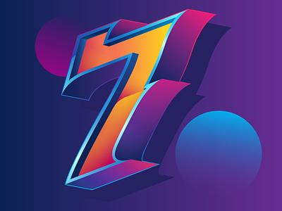 SEVEN vector typography design illustration
