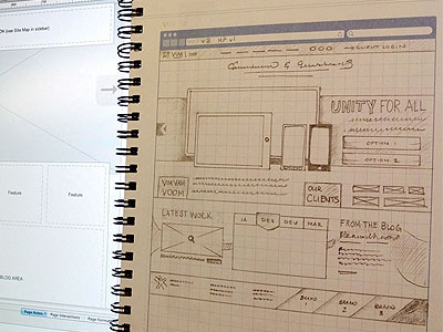 Vim Interactive homepage concept sketch homepage wireframe