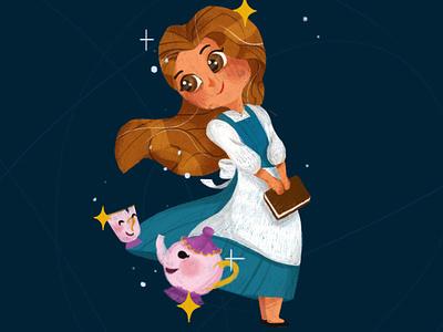Belle illustration fairytales design childrens book beautyandthebeast