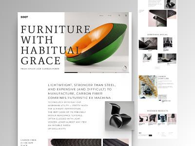 Designer carbon furniture online store carbon fiber carbon minimalism grids web ux ui e-commerce