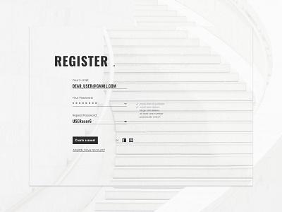 Minimalist Register Form form typogaphy figma ux ui design minimalism