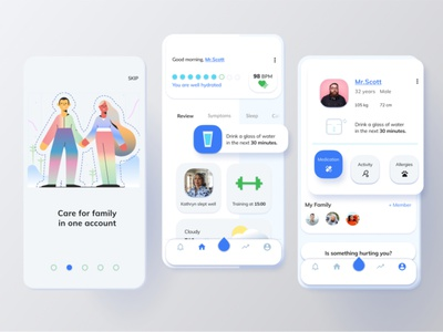 Water Reminding App to Sixty Hydration Monitor user interface design figma ios app