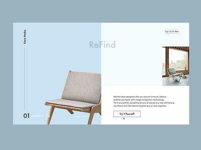 ReFind - Visual search tool for Interior Designers webflow furniture typography graphic flat minimalistic landing desktop app design design branding ui