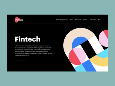 Fintech page for Paralect flat landing desktop design branding illustration management graphic abstract webflow finance fintech