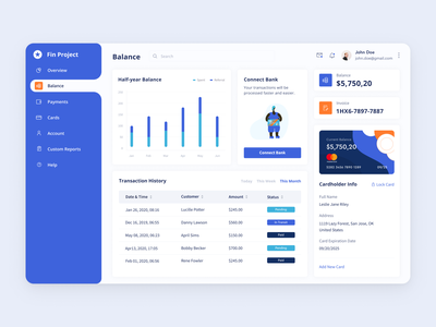Transactions - Balance Dashboard invoice flat desktop app design card payment finance dashboard transactions billing web design design