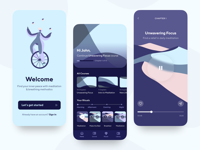 Meditation App - Learn to Focus app design design mobile app mobile dark sleep stress anxiety minimal management product music illustration meditation music app pattern abstract splash dashboard