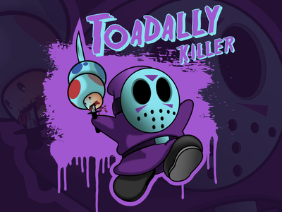 Toadally Killer funny horror jason voorhees friday the 13th 80s retrowave character concept deseyenerd character art vector design super mario bros illustration illustrator
