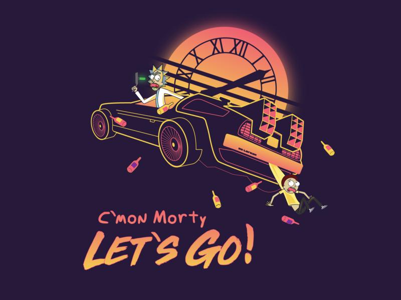 C'mon Morty Let's Go! vaporwave delorean retrowave morty rick sanchez back to the future rick and morty design vector illustration