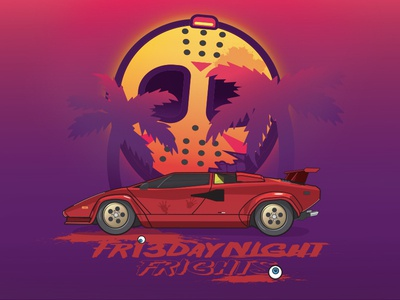 Friday Night Frights (DesEyeNerd Friday the 13th) cute jason voorhees jason gore miami nights miami friday the 13th horror sport car eyeball deseyenerd character concept vaporwave character art 80s retrowave vector design illustration friday night frights