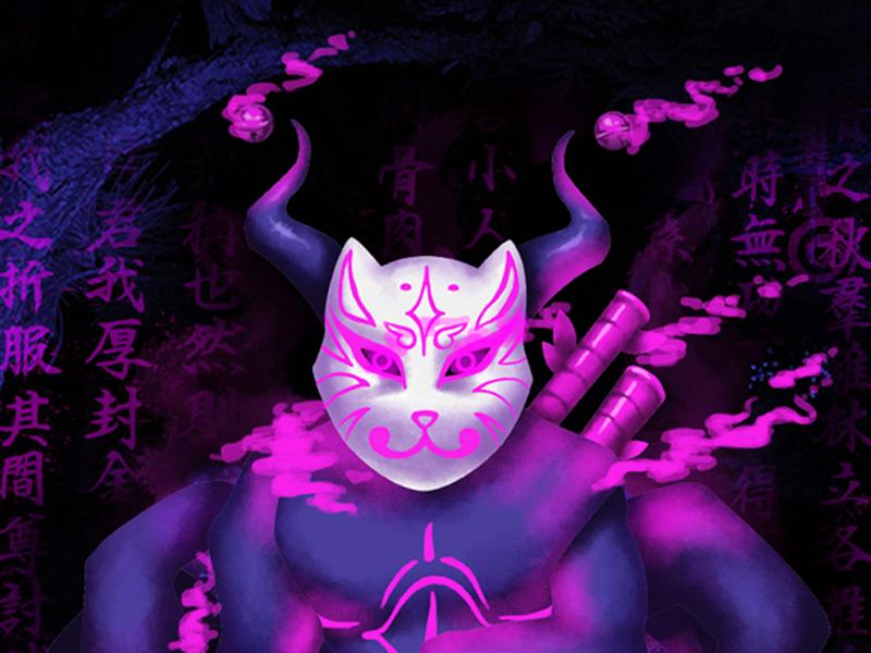 Ōmagatoki photoshop design mask tattoo japan purple graphicdesign illustration jsigner art digitalart