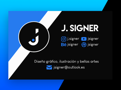 Business Card jesus carrasco freelancer hire diseño gráfico spain malaga gradient blue branding business card behance dribbble graphic designer graphicdesign j signer jsigner j. signer j.signer