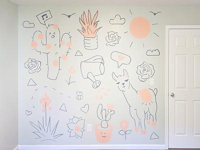 Baby Room Mural succulent cactus lama molotow posco paint markers room baby wall murals mural design muralart