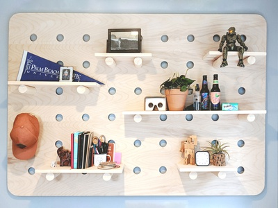 Zoom Room Oversized Pegboard shelf pegboard minimal design custom wood office workspace setup desk zoom