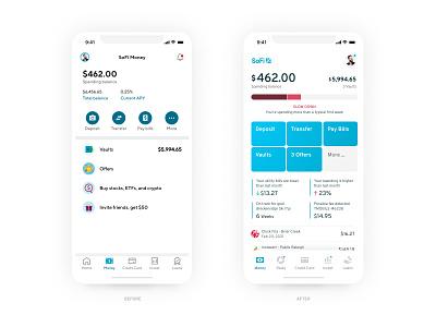 SoFi Money Redesign Concept - Rebound banking white blue mobile interface design money figma simple redesign ux ui concept clean app bank finance sofi