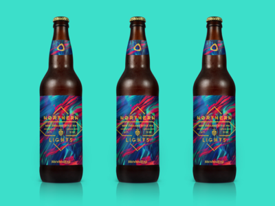 NORTHERN LIGHTS design print bottle custom brew label beer