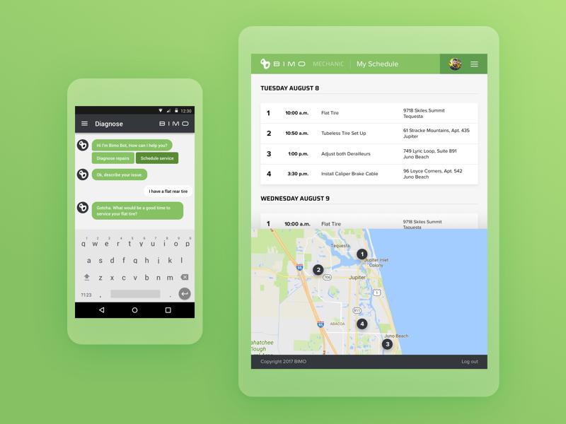 Bike Repair App design chat chatbot app repair mobile