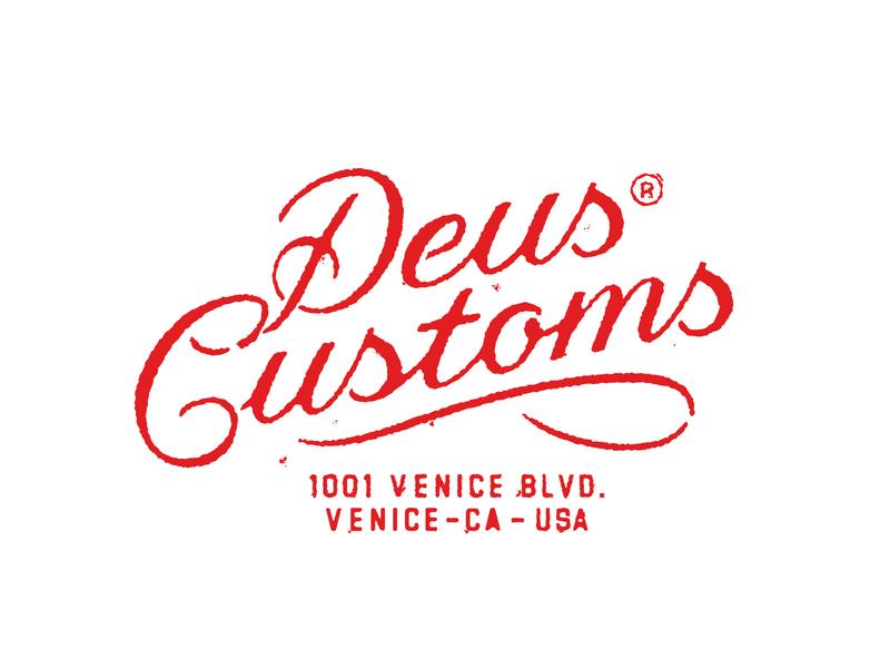 Deus Customs Script collab quarantee brand custom venice tshirt tee logotype logo vintage handlettering typography lettering script deus ex machina deus