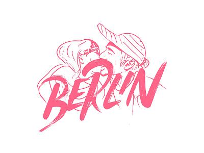 Weekend in Berlin typography city xxx kiss handmade illustration berlin lettering