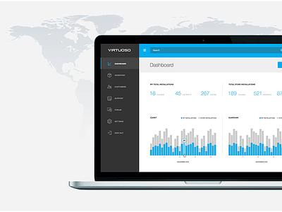 Virtuoso clean modern black blue interface ux ui dashboard