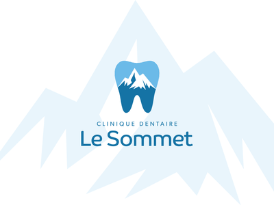 Clinique Dentaire Le Sommet identity branding design white blue tooth mountain summit dentist logo
