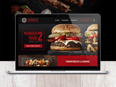Barbie's Reso Bar Grill black red interaction ux ui design website restaurant