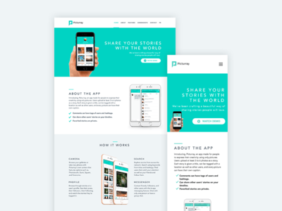 Picturray Website website ux ui app green modern landing page design clean