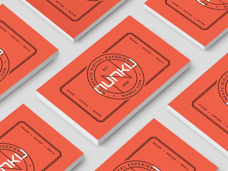 Nunku business cards minimal lettering type flat clean vector icon illustration typography identity logo branding orange design ux ui