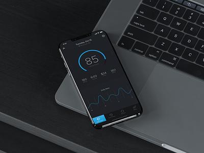Vehicle Telematics App ios iphone dashbaord flat app clean black blue design ux ui