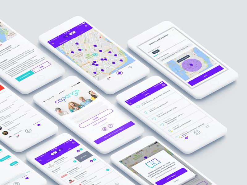 Capango ios web purple white mobile app clean design ux ui
