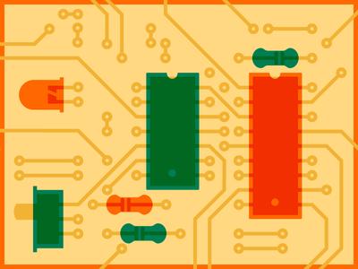 PCB resistors chips switch led hardware illustration