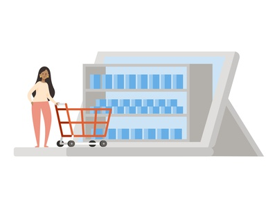 Virtual Shopping laptop character illustration store