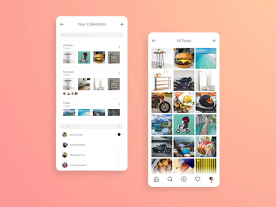 Instagram Share Collections user interface product design gif after effects animation ui ux mobile app design mobile social media ios interaction app android collections share instagram