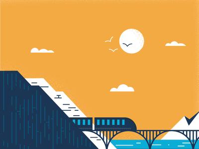 Here comes the choo-choo train minimal texture bridge mountain illustration landscape train