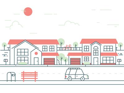 Suburbia landscape car neighborhood line illustration house