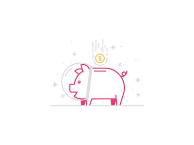 Space Pig money line stars piggy bank illustration pig space