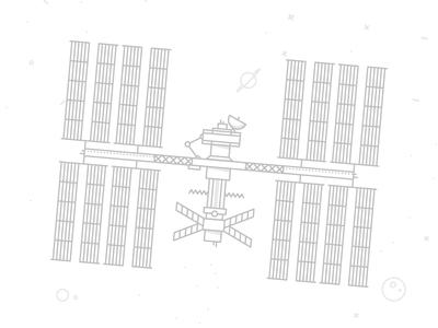 Satellite minimal line planet space illustration satellite