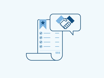 Making Paper money deal illustration line handshake business receipt