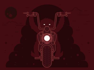Seattle Monster Mash 18/31 motorcycle monoline line art illustration character seattle monster mash seattlemonstermash