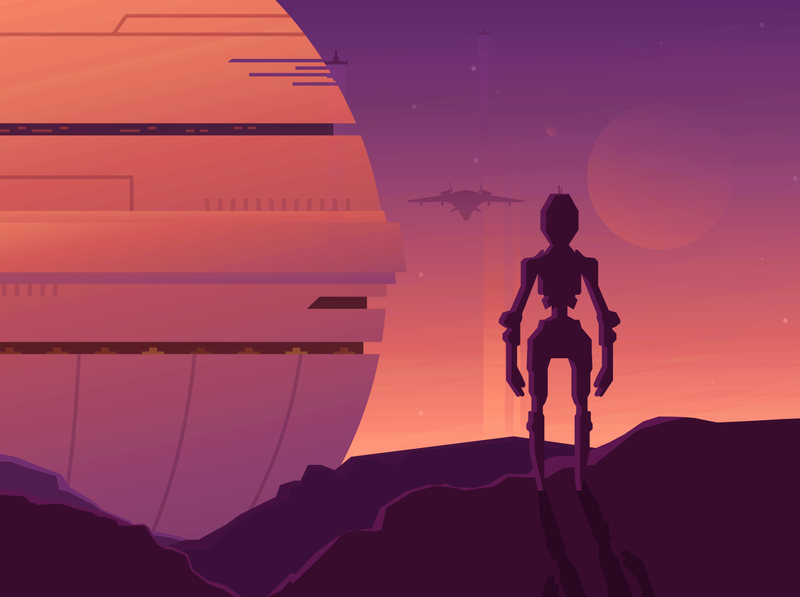 Robot character illustration futuristic dystopian scifi robot