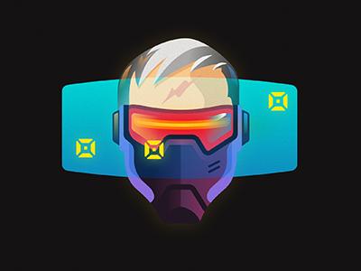 SOLIDER 76 over-watch  vector solider neon avatar game illustration