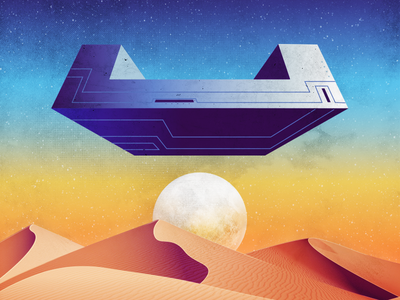 space ship desert face 2d 80s retro space illustration