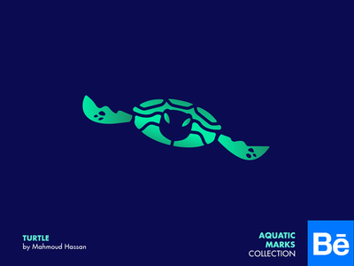 Turtle graphic design 2d collection marks logo animal