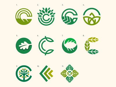 Icons letter illustration mark branding green natural design 2d logo