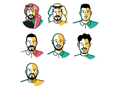 team illustration avatar ui ux vector illustration 2d